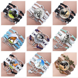 Wholesale Multi Rope Bracelets - Brand new Selling horse gem glass bracelet hand-woven multi-layer leather bracelet FB144 mix order 20 pieces a lot Charm Bracelets