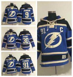Wholesale High Johnson - Men Tampa Bay Lightning Hooded Pullover 9 Tyler Johnson 91 Steven Stamkos Hoody Blue Hockey 30 Ben Bishop Hoodies Mans Stitched High Quality