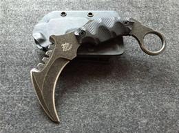Um karambit aus on-line-O Um FIM Karambit Garra Lâmina Fixa Faca Stonewashed AUS-8 Tactical Camping Caça Sobrevivência Bolso Utilitário EDC Presente Faca Homem Coleção