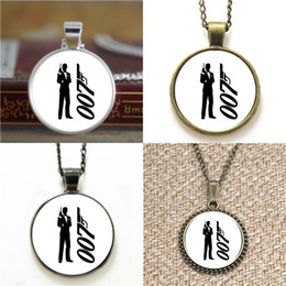 Wholesale bond movies - 10pcs Bond Movie Pendant Necklace keyring bookmark cufflink earring bracelet