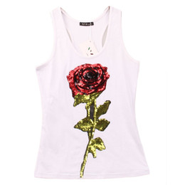 Wholesale Yellow Tank Top Sequins - Wholesale- Summer Style Tank Shirts Women Rose Sequins Sequined Vest Camisole Women Tops Fashion Racer Back Tops Hot