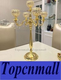 Wholesale Candelabra Centerpieces - new product elegant Tall metal and crystal candelabra centerpieces wedding gold , silver candelabra 5 arm decoration