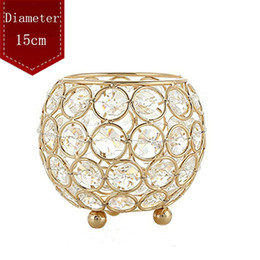 Wholesale Crystal Ball Wedding Centerpiece Wholesale - Gold Silver Metal Candle Holder Stand Crystal Table Candelabras Centerpiece 15cm Ball Romantic Candlelight For Wedding Decoratio