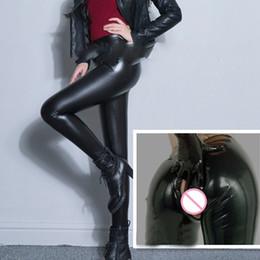 Wholesale Open Leggings Crotch - Sexy Plus Size PU Zipper Open Crotch High Rise Waist Pencil Pants Faux Leather Women Matte Leggings Capris Club Dance Wear 70