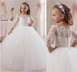 Wholesale Teens White Lace Dress - Toddler Lace Flower Girls Dresses For Weddings Teens Tulle Jewel Long First Communion Dress Floor Length Girl Pageant Gown