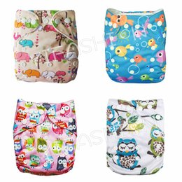 Wholesale Girl Nappies - 4pcs Pack Girl Prints Owl  Elephant Cloth Diaper Cover with 4pc microfiber insert Reusable Diapers cloth One Size Retail & Wholesale