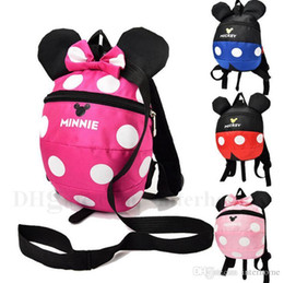 Wholesale School Bag Kids Cartoon - Mickey Minnie Backpacks Kids Cartoon School Bags Baby Fashion Dotted Book Bags Toddlers Large Capicity Backpacks Children Accessories H569