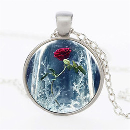 Wholesale Photos Gemstones - Beauty and the Beast Chain Necklace Grils Women Jewelry Gothic Glass Photo Rose Flower Cabochon Vintage Time Gemstone Pendant Necklace gifts