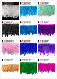 Wholesale Turkey Wedding Decoration - ZPDECOR Crafts Factory 10yards lot 10~15cm(4~6inch) in Width Fantastic DIY Decoration Dyed Multi-Color Turkey Chandelle Feather Fringe Trim