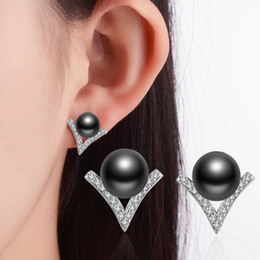 Wholesale Pearl Alphabet - Agood fashion jewelry silver plated earrings stud for women female big pearl earring letter V wedding party accessories