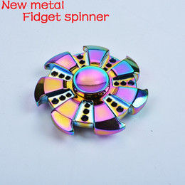 Wholesale Rose Wheels - Best New Rainbow Muti-color Fidget Spinner Metal Hand Spinner Colorful Stress Wheel Cube Toys Rose Gold Spiner Adults children Gifts