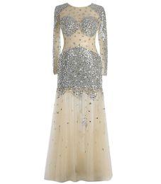 Les cristal on-line-LE CELEBRE Jewel Neck frisada de cristal Prom Dress Longo 2019 mangas compridas Prom Vestidos Custom Made