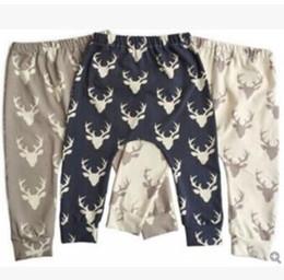 Wholesale Christmas Printed Leggings - Baby PP Pants Elk Fawn Christmas Leggings Cotton Toddler Deer Head Print Tights Figure Haroun Pants Trousers Children Causal Leggings J459
