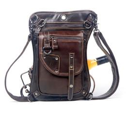 Wholesale Leather Leg Belt - Wholesale- Men's Cowhide Oil Wax Geunine Leather Waist Thigh Drop Leg Bag Messenger Cross Body Shoulder Belt Hip Bum Pack