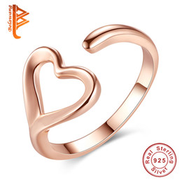 Wholesale Open Gold Rings - BELAWANG Wholesale #678 925 Sterling Silver Finger Rings for Women Rose Gold Love Heart Rings Wedding Engagement Open Adjustable Ring