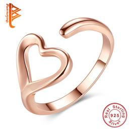 Wholesale Sterling Adjustable Ring - BELAWANG Wholesale #678 925 Sterling Silver Finger Rings for Women Rose Gold Love Heart Rings Wedding Engagement Open Adjustable Ring