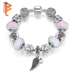 Wholesale Leather Bracelets Heart Wings - BELAWANG Pink&White Murano Glass&Crystal Bead Fit Original Heart Angle Wing Charm Bracelets For Women Girls Jewelry Gift Wholesale 18-20cm