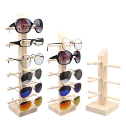 Wholesale Wooden Jewelry Display Stands - New Wooden Sunglasses Holder Glasses Rack Men Women's Sunglasses Display Shelf Household Organizer Glasses Frame Container