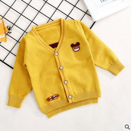 Wholesale V Neck Cardigan Sweater Boys - Little kids knitting cardigan 2017 new autumn boys Mickey cartoon V-neck sweater children single-breasted fashion outwears C1099