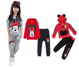 Wholesale Winter Outfits For Girls - Children clothes girl Mickey outfits set 100% cotton hoodies+pants 2 pcs for 2~7 years old children 5s l