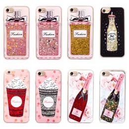 Wholesale Transparent Plastic Perfume Bottles - hot sale phone case gitter sequins liquid quicksand wine perfume bottle icecream transparent PC crystal case for iphone 7 7s 6 6s plus