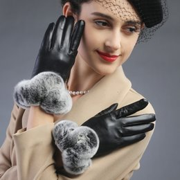 Wholesale Genuine Rabbit Fur Gloves - Wholesale- fashion women leather gloves genuine leather women sheepskin rabbit fur cuff gloves mittens Touch screen gloves free shipping