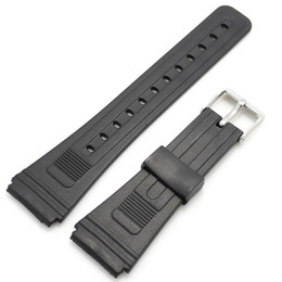 Wholesale Womens Watch Clasp - Wholesale- 10pcs Lot Black 20mm Band Width Rubber Wrist Watch Band Strap Stainless Steel Pin Buckle Mens Womens with Spring Bars