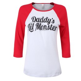 Wholesale Tv T Shirts Wholesale - New hot Suicide Squad Harley Quinn Daddy's Lil Monster T Shirt 2016 Harley Quinn Cosplay Costume Women Tee