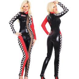 Wholesale Car Racing Girls - Sexy Car Racing Girls Costume Women Long Sleeve Jumpsuit Cheerleader Model Uniforms Car Club Party Suit
