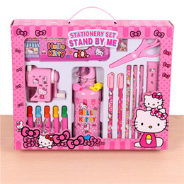 Les gommes mignonnes des enfants à vendre-24pcs / set Cute Childiren Kid School Papeterie Set cadeau Frozen Micky Mouse Kettle Color Pen Pencil Box Aiguiseur scissors gomme