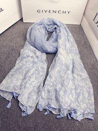 Wholesale Muffler Men - Wholesale- Mori girls Japanese style fresh sweet long blue print scarf for women girls South Korea boho designer printed scarves muffler