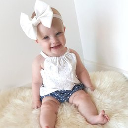 Wholesale Lace Tank Tops Toddler - Summer INS Baby Girls Tops Cotton Lace Hollow White Tank Tops Tees Sleeveless Shirt Toddler Infant Newborn Baby Clothes Kids Clothing 574