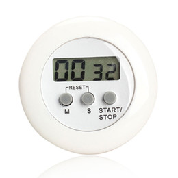 Wholesale Magnetic Countdown Timer - Round Magnetic LCD Digital Kitchen Countdown Timer Alarm with Stand White Kitchen Timer Practical Cooking Timer Alarm Clock