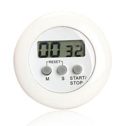 Soportes lcd online-Ronda magnética LCD temporizador de cuenta regresiva de cocina digital con soporte blanco temporizador de cocina práctica temporizador de alarma de cocina