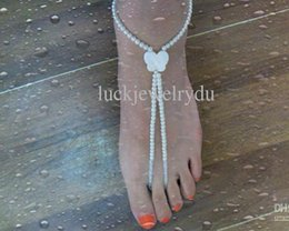 Wholesale Sports Stretch Ring - HOTSALE Nature shell butterfly bead barefoot sandals stretch anklet chain with toe ring 2pcs lot anklet Free by China post