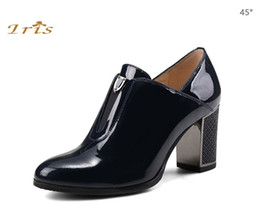 Wholesale Iris Dress - IRIS Genuine Leather Shoes Women High Heels Pumps Round Toe Handmade Metal Dec Fahion Square Heel Ladies Office Shoes 2017 New
