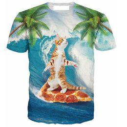 Vente en gros-Nouveau Printemps Été T-Shirt 3d Impression T-shirt Chat sur Pizza Mode Vêtements T-shirts Chemise Camisas Pour Unisexe Femmes Hommes ? partir de fabricateur