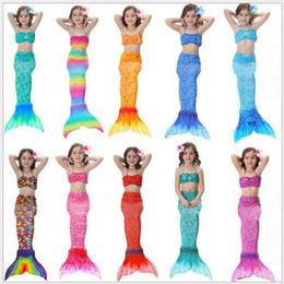 Wholesale Fish Swimwear - Mermaid Swimwear Girls Mermaid Tail Swimsuit Scale Top Brief Fish Tail Swimsuit Clothing Set Baby Cosplay Swimming Costume CCA6407 20set