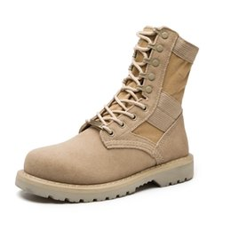 Wholesale Military Desert Boots For Men - Genuine Leather Tactical Men's Combat Boots Desert Boots For Men Military Flat Suede Boots Stitching Canvas Botas Militares