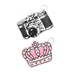 Wholesale Crown Ladies Rings - Mini Cute Coin Purses Cartoon Key Ring Wallets Accessories Crown camera Shape Zipper Preppy Style Girl Bag Pendant LBQ452