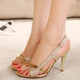 Wholesale Comfortable Gold Sandals - Bohemia 2017 summer fashion sandals comfortable fine high-heeled fish mouth Rome toe hollow out sandals