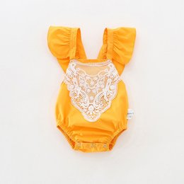 Wholesale Rabbit Lace - INS 6 styles Hot sell infant girl Summer clothing sets 100%Cotton Stripped and dots Print romper baby Lace collar rabbit print clothing