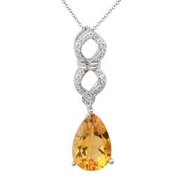 Wholesale Natural Citrine Silver Pendant - 925 Sterling Silver Pendant for Lady Necklace 8x12mm Pear Cut Natural Yellow Citrine Jewelry 18-inch Cable Chain P046GCN