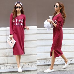 Wholesale Tea Length Cotton Casual Dresses - Korean cotton maternity lactation clothes out in the spring and autumn long sleeve dress casual fashion sweater16184