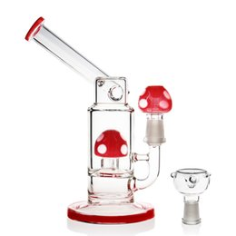 Wholesale Cute Red - REANICE Recycler red glass bong 14.5mm joint size bowl Height 19cm Straight Pipes Honeycomb Branch Cute Cheap Bongs Water Oil R Luxury