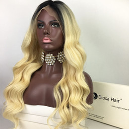 Wholesale Malaysian Virgin Hair Wavy Wigs - Diosa 150 Density 1BT613 Wavy Full Lace Human Hair Wigs With Natural Hairline Glueless Lace Front Wigs Ombre Front Lace Wigs