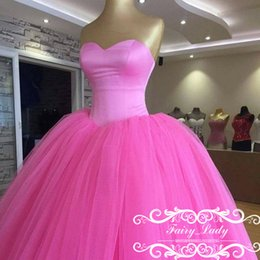 Wholesale Hot Pink Ruffling Pageant Gown - Princess Hot Pink High Waist Sweet 16 Quinceanera Dresses Long 2017 Puffy Ball Gown Lace Up Girls Ragazza Prom Dress Formal Pageant