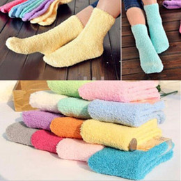 Wholesale Girls Fleece Slippers - Wholesale- 2016 Hot Fashion Women Girls Casual Fuzzy Thick Winter Warm Candy Colors Slipper Soft Smooth Coral Fleece Socks Hosiery New