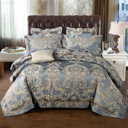 Wholesale King Size Doona Covers - Wholesale- Luxury Bule Jacquard Satin Silk Bedding Set King Queen Size 2 4pcs Doona Duvet Cover Bedclothes Bed Linen Cotton Home Textile