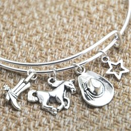 Wholesale Cowgirl Hat Boots - 12pcs Cowgirl inspired bracelet cowgirl boot Horse hat star charm bangle bracelet